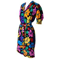 Vintage Dress by Emanuel Ungaro Parallele in Bright Floral Silk Print