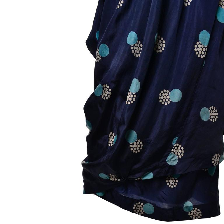 Women's Edwardian Titanic Era Silk Vintage Dress Hobble Style Rare Print For Sale