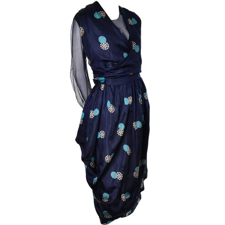 Edwardian Titanic Era Silk Vintage Dress Hobble Style Rare Print For Sale