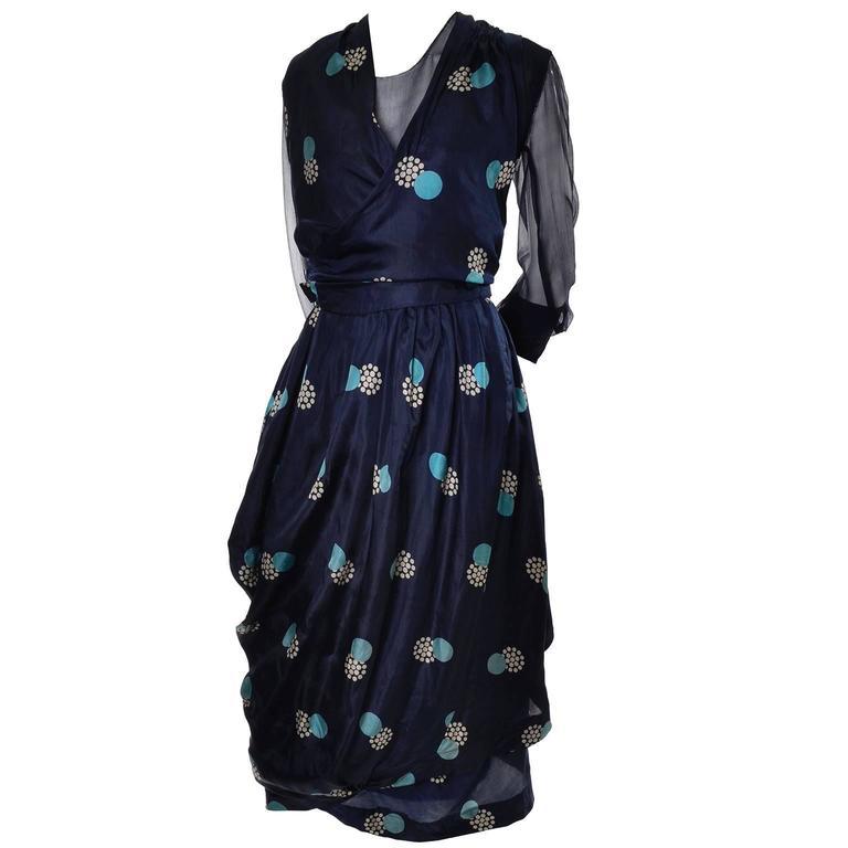 Black Edwardian Titanic Era Silk Vintage Dress Hobble Style Rare Print For Sale