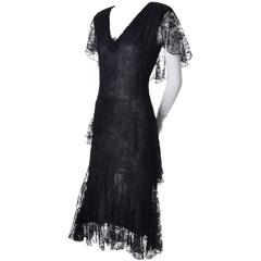 1970s Holly Harp Vintage Black Lace Layered Sparkle Dress 1930s Style 6