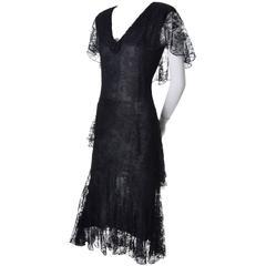 1970s Holly Harp Vintage Black Lace Layered Sparkle Dress 1930s Style 6