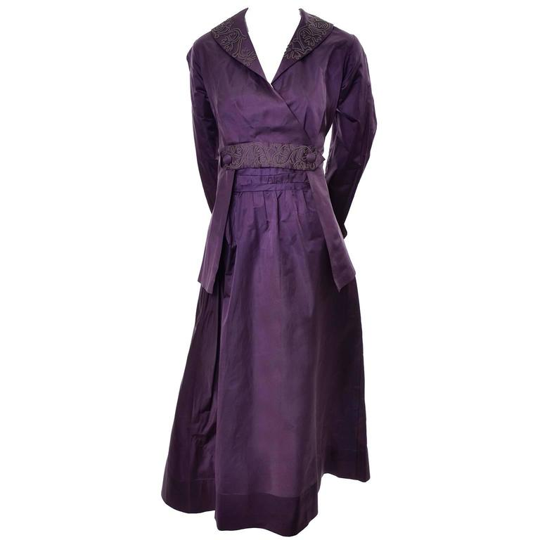 Edwardian Vintage 2pc Dress Skirt Jacket Suit Soutache Trim Purple ...