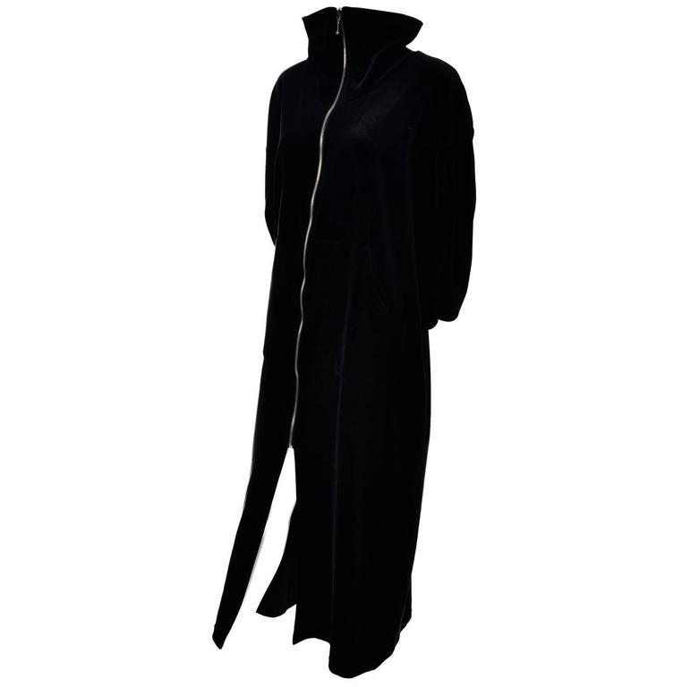 1990s Donna Karan Intimates Black Label Vintage Velveteen Robe Zip Front Medium