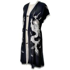 Vintage Chinese Silk Embroidered Dragons Dress and Caftan 2 pc Asian Ensemble