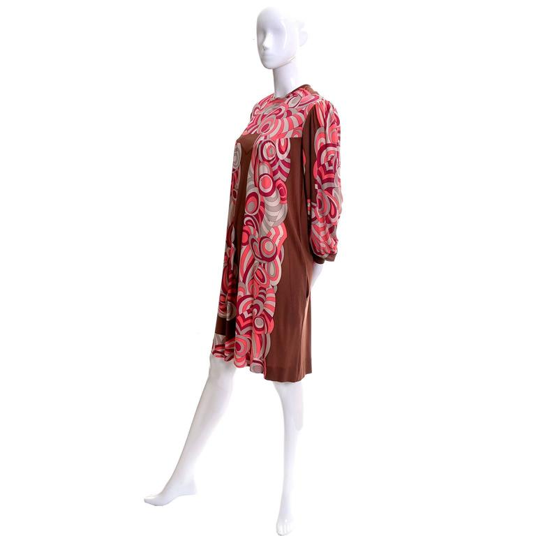 Emilio Pucci Vintage Dress Pink & Brown Mod 1960s Silk Jersey Size 8/10 In Good Condition For Sale In Portland, OR