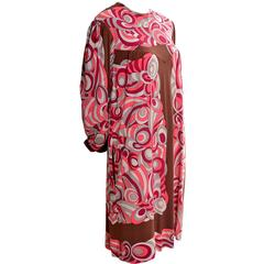 Emilio Pucci Vintage Dress Pink & Brown Mod 1960s Silk Jersey Size 8/10