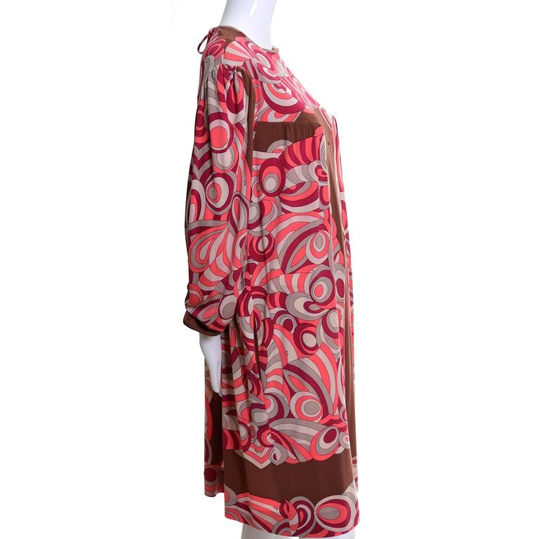 Women's Emilio Pucci Vintage Dress Pink & Brown Mod 1960s Silk Jersey Size 8/10 For Sale