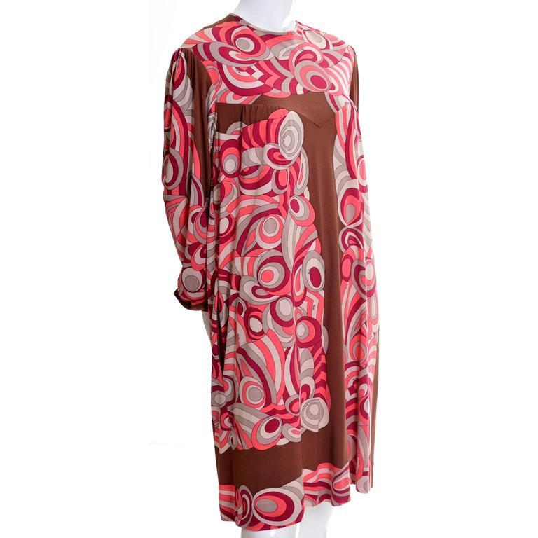 Emilio Pucci Vintage Dress Pink & Brown Mod 1960s Silk Jersey Size 8/10 For Sale 1