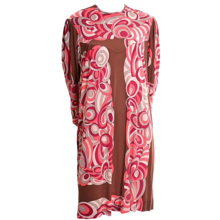 Emilio Pucci Vintage Dress Pink & Brown Mod 1960s Silk Jersey Size 8/10 For Sale 2