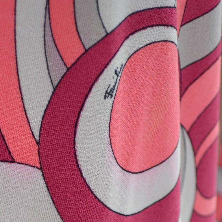 Emilio Pucci Vintage Dress Pink & Brown Mod 1960s Silk Jersey Size 8/10 For Sale 3