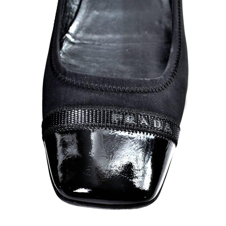 Women's Prada Black Shoes Flats Patent Leather Square Toe Size 9 For Sale