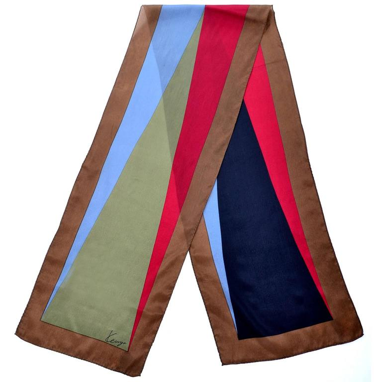 Kenzo Vintage Scarf Silk Abstract Geometrics