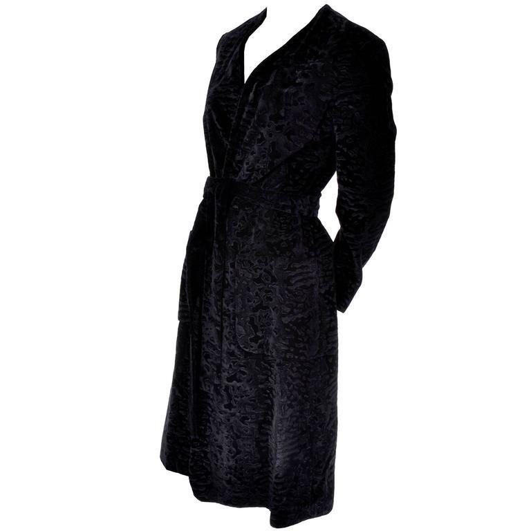 Bill Blass Vintage Coat Black Flocked Velvet Black Pockets and Belt