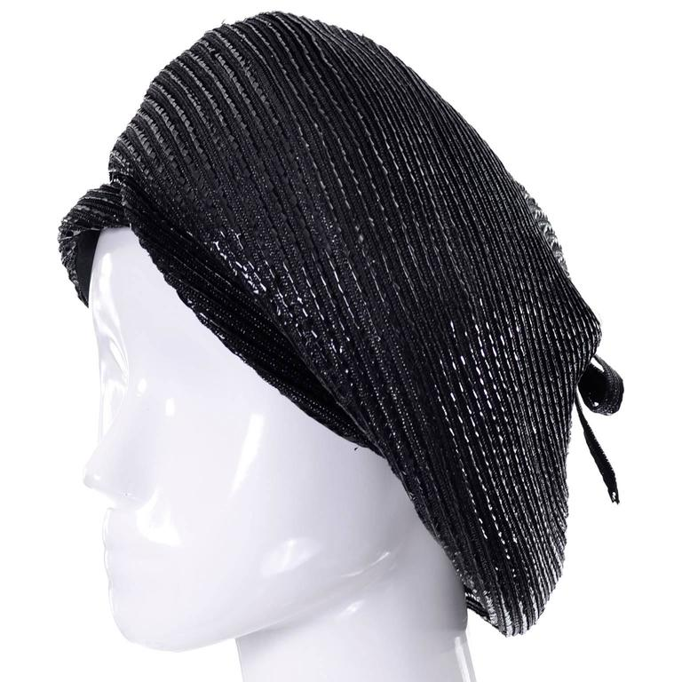 1960s Vintage Christian Dior chapeaux Turban Style Beret Hat Black Coated Straw 4