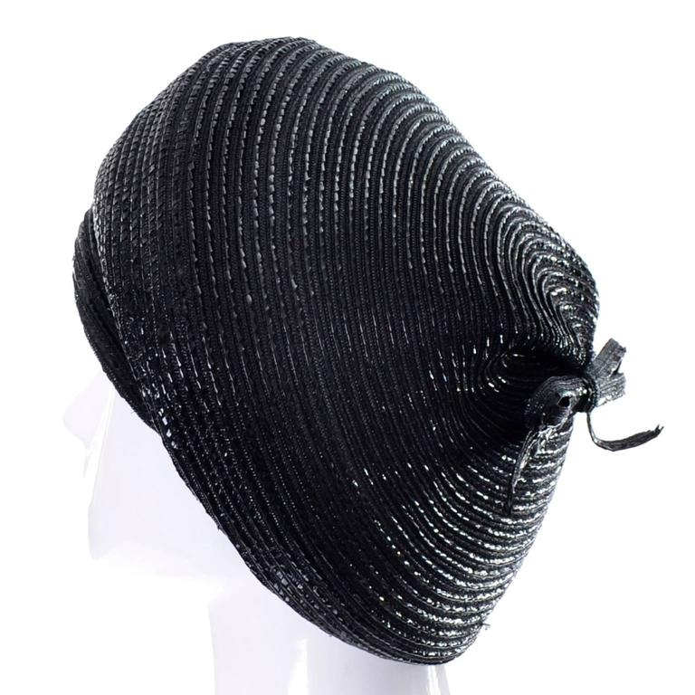 1960s Vintage Christian Dior chapeaux Turban Style Beret Hat Black Coated Straw 3