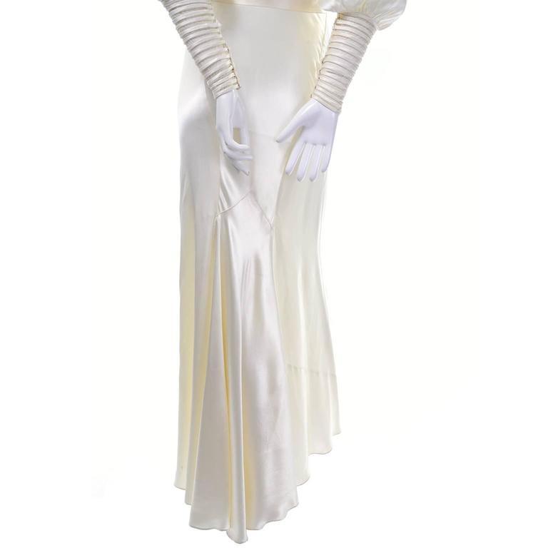 Ivory Slipper Satin Wedding Dress Gown Leg of Mutton Sleeves, 1930s ...