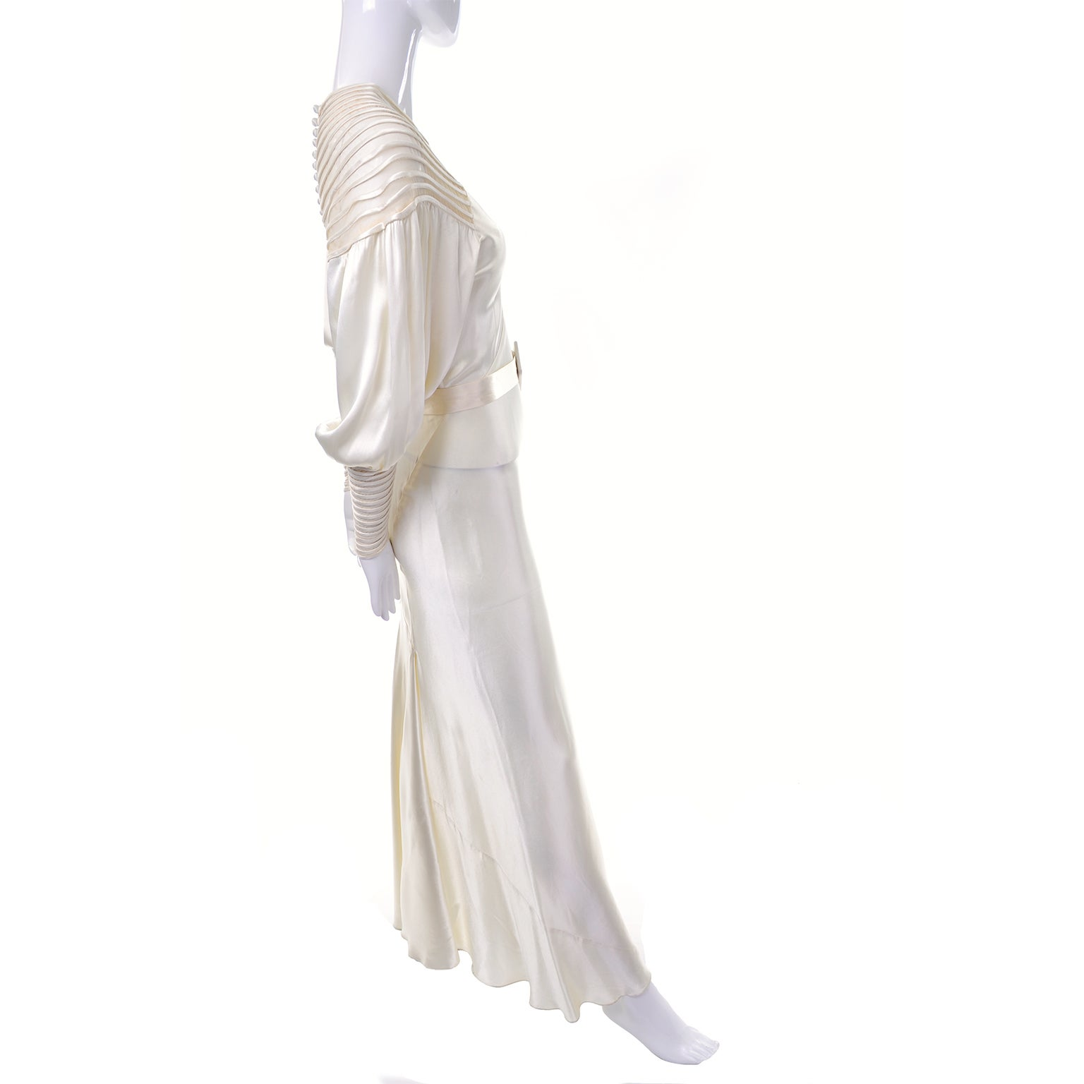 384dbeda164d Ivory Slipper Satin Wedding Dress Gown Leg of Mutton Sleeves, 1930s Kate  Moss at 1stdibs