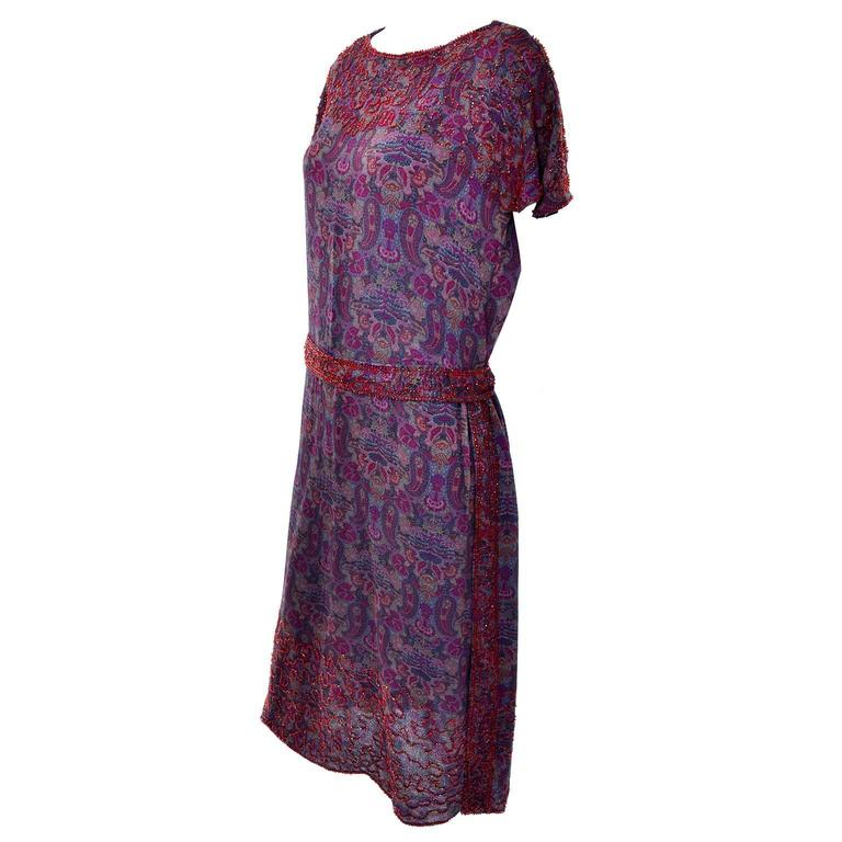 Black 1920s Vintage Beaded Purple Paisley Dress With Red Beads For Sale