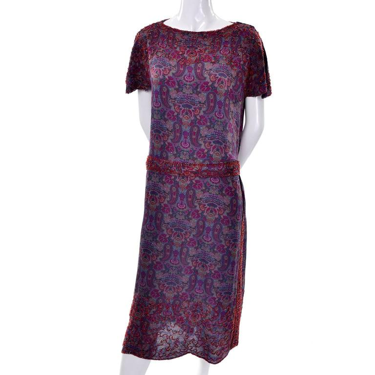 1920s Vintage Beaded Purple Paisley Dress With Red Beads In Excellent Condition For Sale In Portland, OR