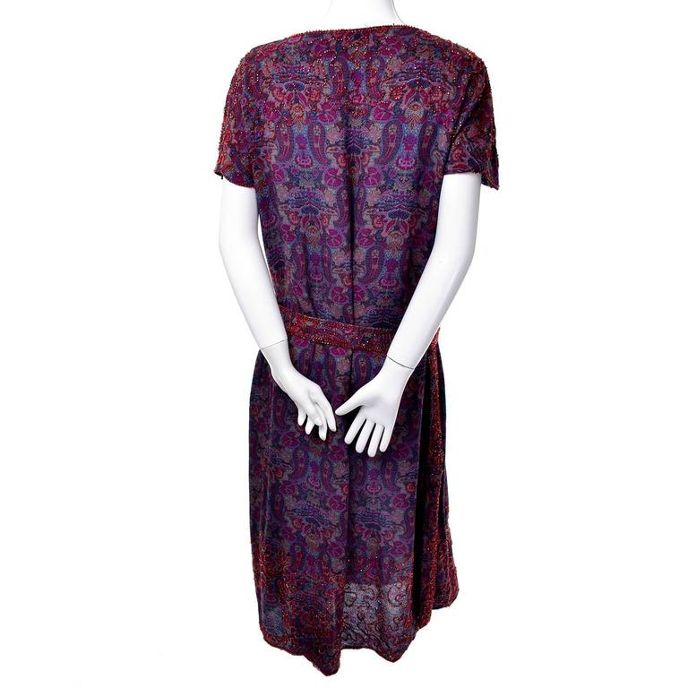Women's 1920s Vintage Beaded Purple Paisley Dress With Red Beads For Sale
