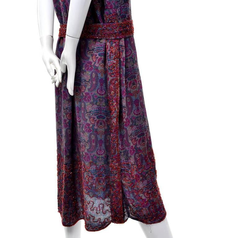 1920s Vintage Beaded Purple Paisley Dress With Red Beads For Sale 1