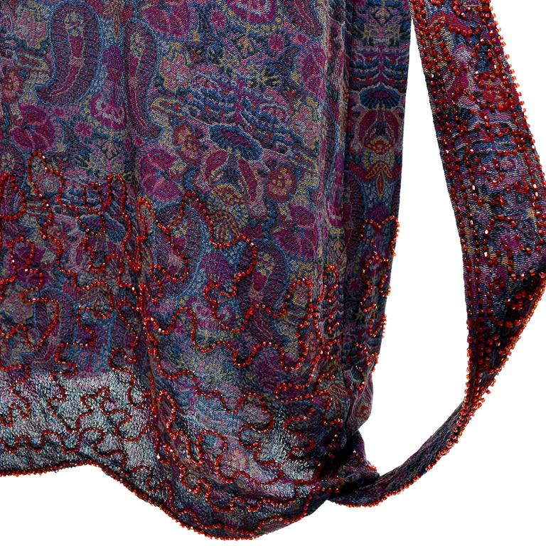 1920s Vintage Beaded Purple Paisley Dress With Red Beads For Sale 3