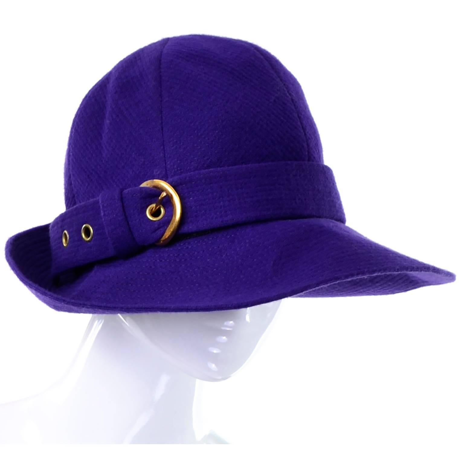 8e1b6da7904 1960s YSL Vintage Purple Wool Hat Designed by Yves Saint Laurent 22