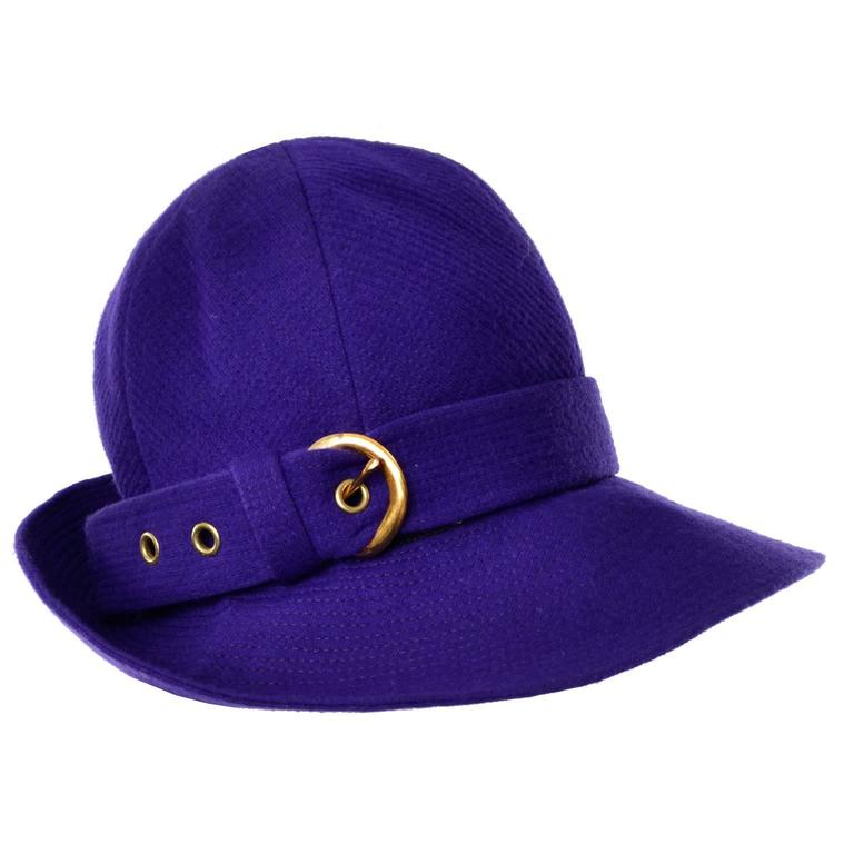 1960s YSL Vintage Purple Wool Hat Designed by Yves Saint Laurent 22""