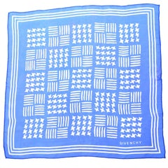 1970s Givenchy Blue Silk Chiffon Stars Vintage Scarf