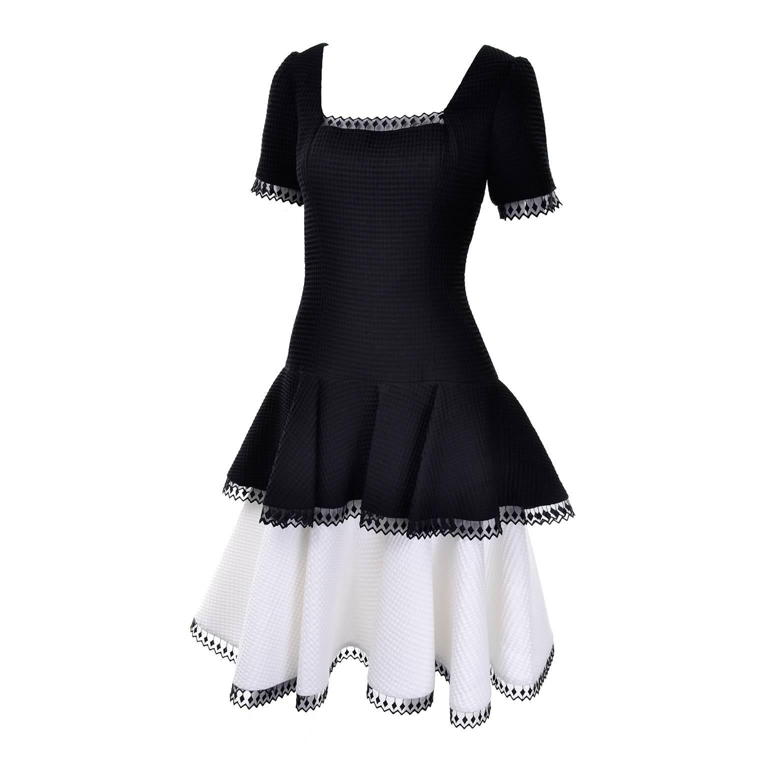 bac65214701 Vintage Victor Costa Black + White Silk Taffeta Lace Cocktail Dress For Sale  at 1stdibs
