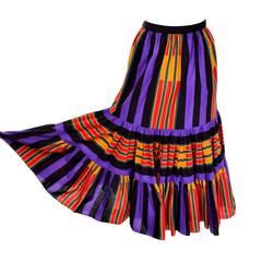 1970s Emanuel Ungaro Vintage Striped Peasant Skirt With Ruffles Size 10
