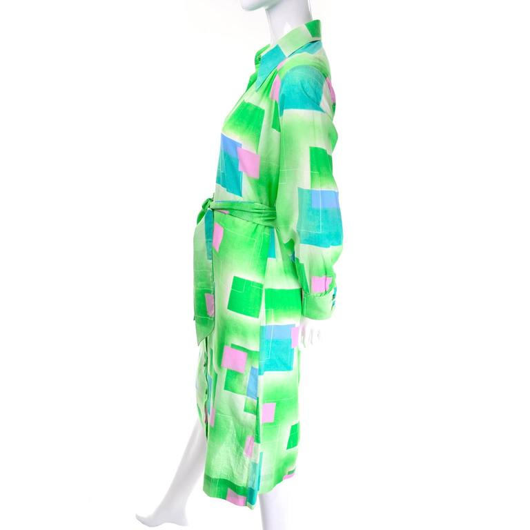 1970s Lanvin Vintage Dress in Geometric Graphic Green Blue and Pink Print 8/10 In Excellent Condition For Sale In Portland, OR