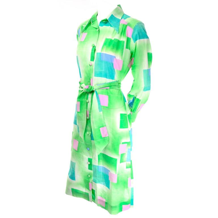 Women's 1970s Lanvin Vintage Dress in Geometric Graphic Green Blue and Pink Print 8/10 For Sale