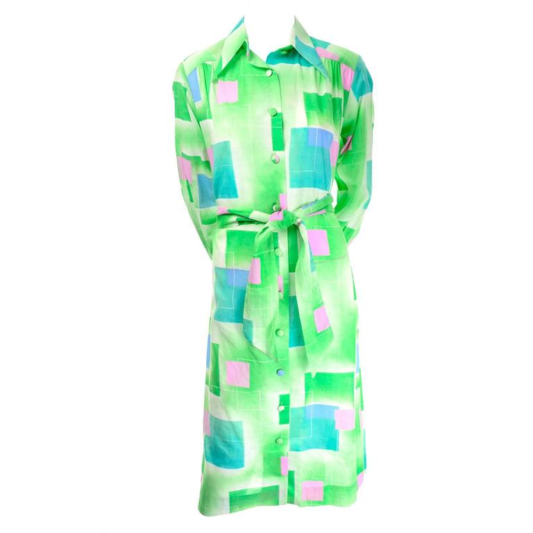 1970s Lanvin Vintage Dress in Geometric Graphic Green Blue and Pink Print 8/10