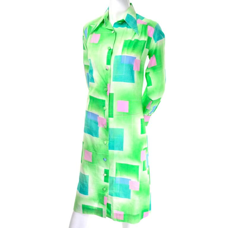 1970s Lanvin Vintage Dress in Geometric Graphic Green Blue and Pink Print 8/10 For Sale 1