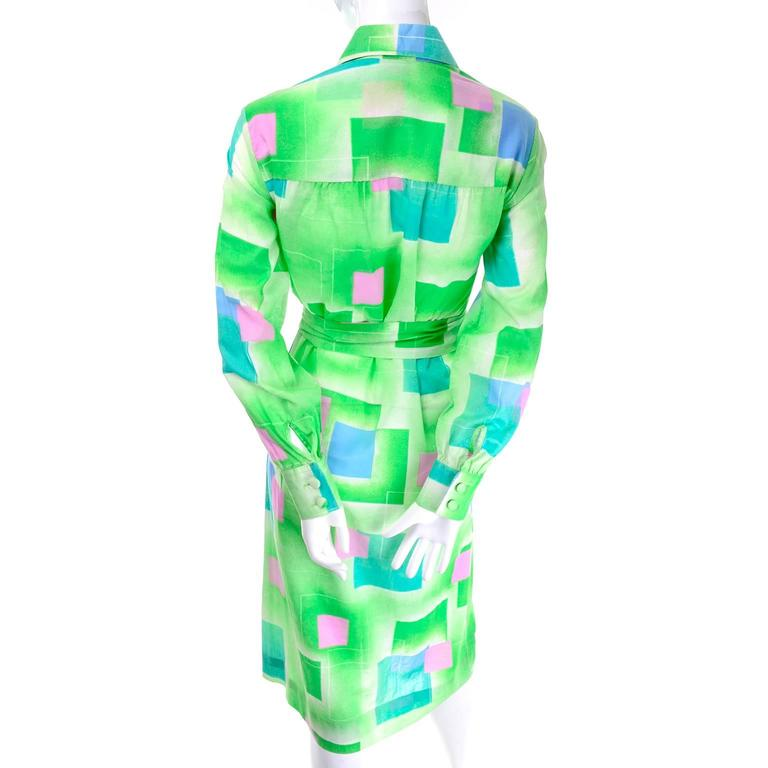 1970s Lanvin Vintage Dress in Geometric Graphic Green Blue and Pink Print 8/10 For Sale 2