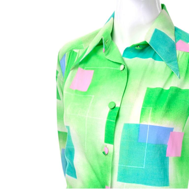 1970s Lanvin Vintage Dress in Geometric Graphic Green Blue and Pink Print 8/10 For Sale 3
