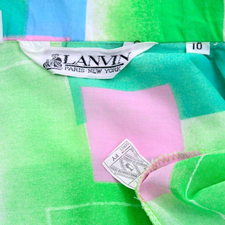 1970s Lanvin Vintage Dress in Geometric Graphic Green Blue and Pink Print 8/10 For Sale 5