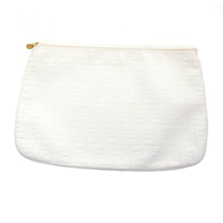 Gray Vintage Fendi Handbag in White Leather Oversized Clutch W  F Logo  Pattern For Sale 7d7461e59d591