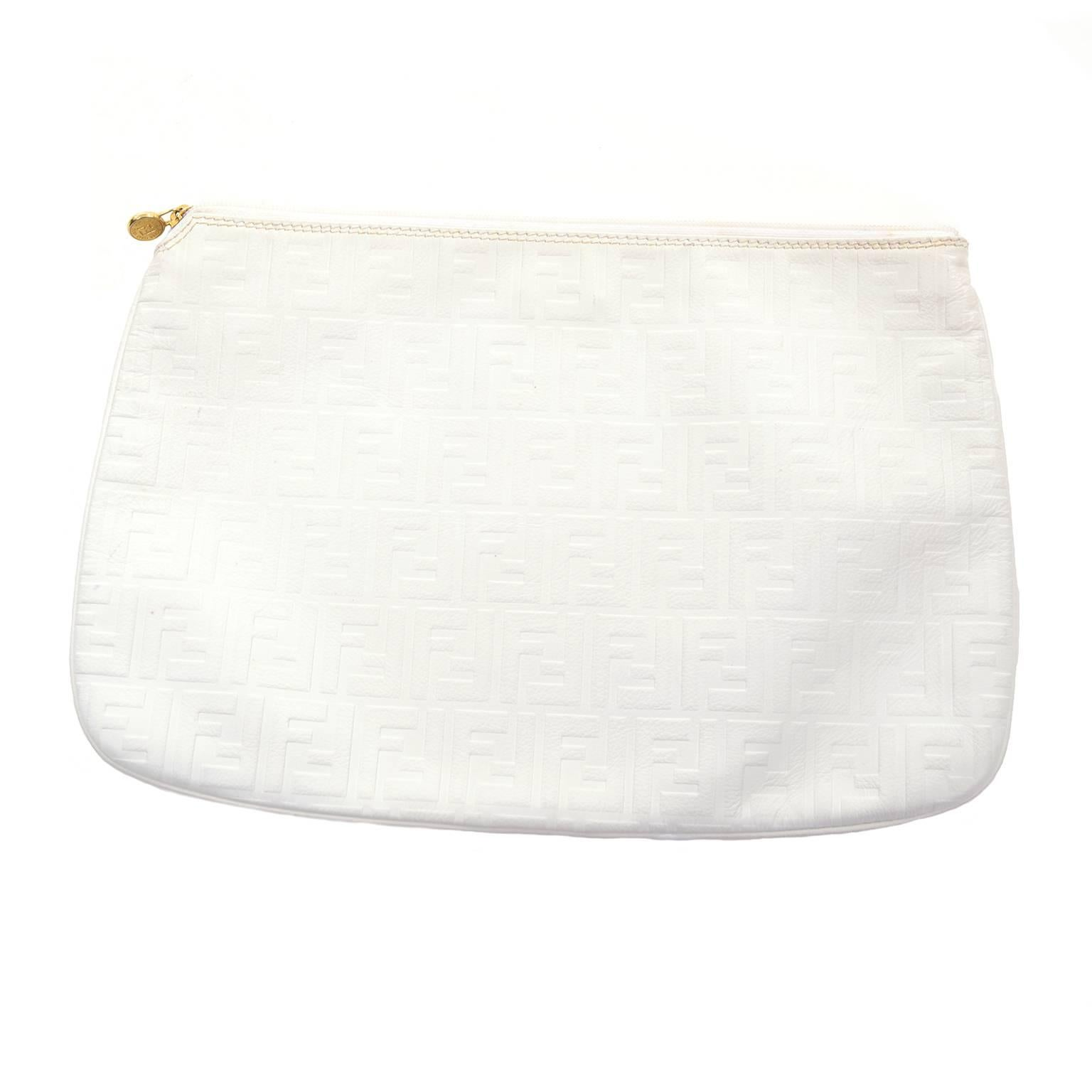 Fendi Vintage Fendi Handbag In White Leather Oversized Clutch W/ F Logo Pattern gp3tw
