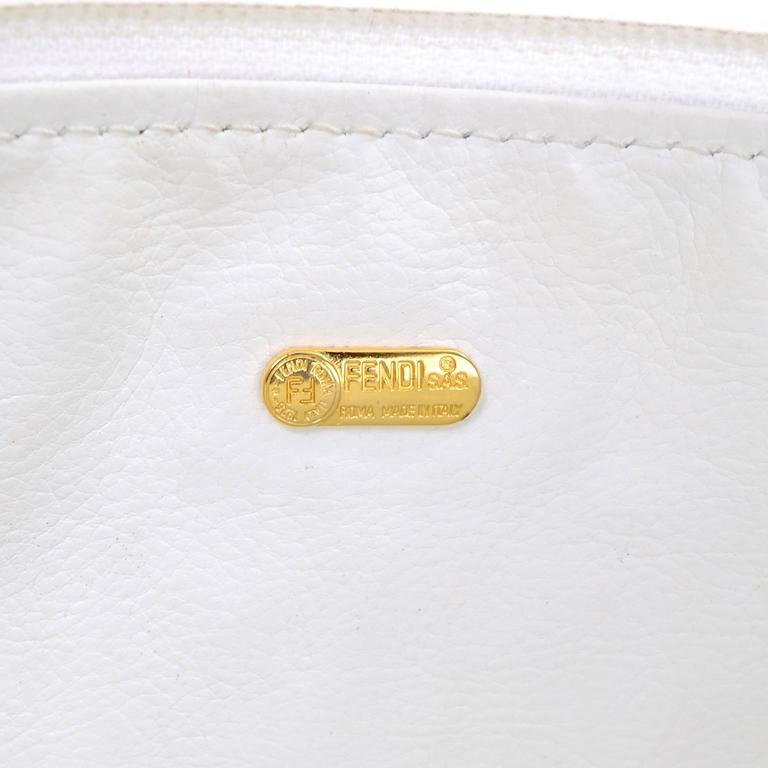 Vintage Fendi Handbag in White Leather Oversized Clutch W/ F Logo Pattern In Excellent Condition For Sale In Portland, OR