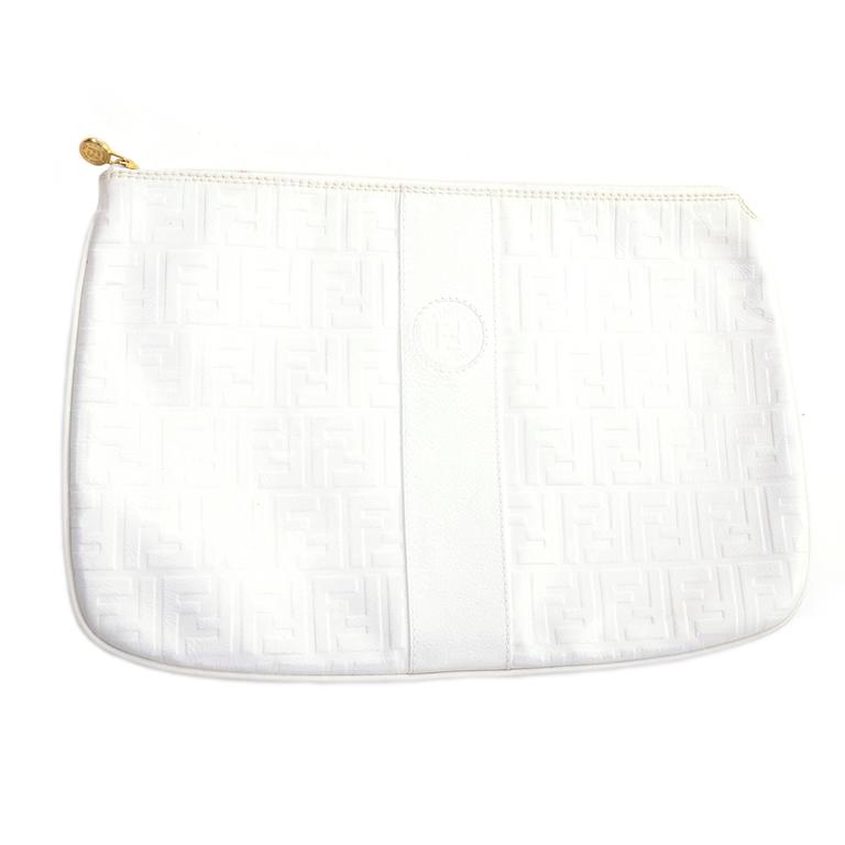 Vintage Fendi Handbag in White Leather Oversized Clutch W/ F Logo Pattern For Sale 1