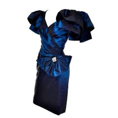 1980s Tadashi Vintage Blue Dress Iridescent Satin Dramatic Bow Beading