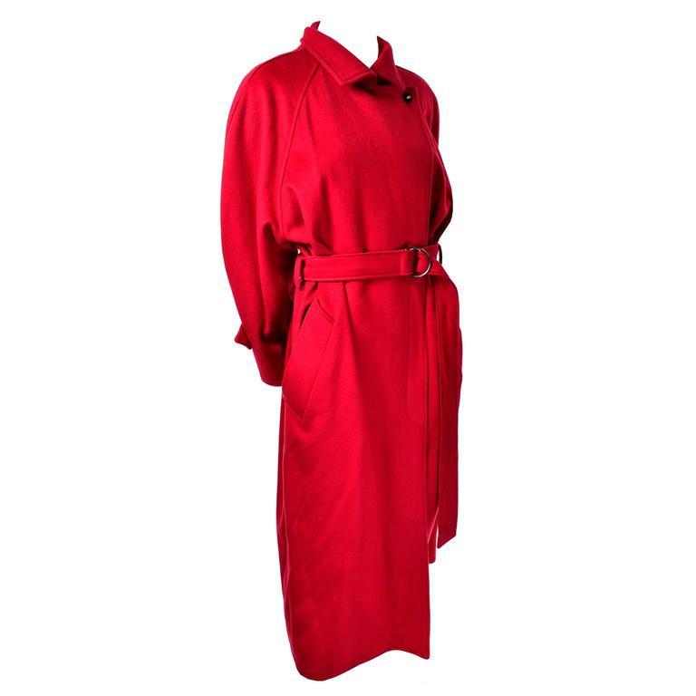 Ramosport Paris Vintage Red Wool Coat Made in France