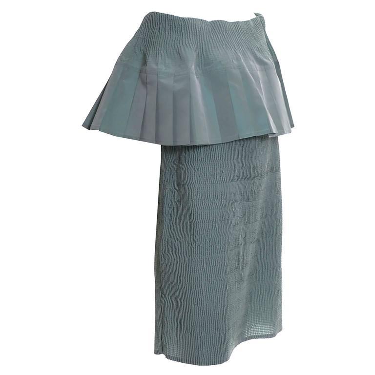 Angelo Tarlazzi Paris Iridescent Sage Green Shirred Designer Vintage Dress 1980s
