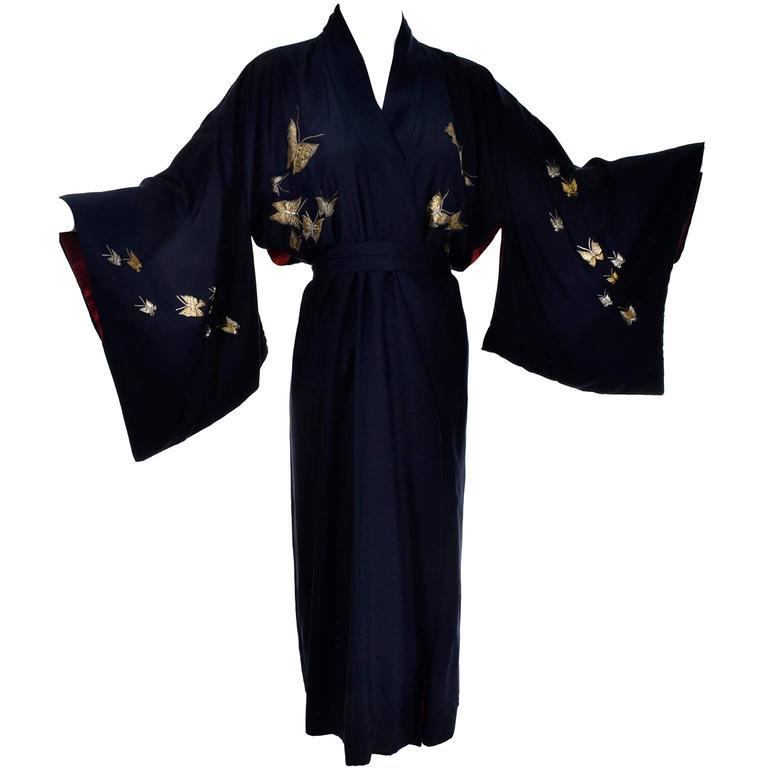 Silk Vintage Kimono Metallic Embroidery Butterflies Dressing Gown ...