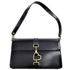 Moschino Vintage Leather Handbag Heart Clasp Shoulder Bag