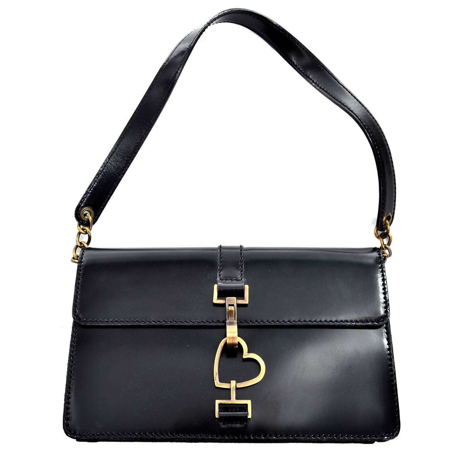 a3c0defe90 Moschino Vintage Rare Iconic Black Patent Leather Heart Bag at 1stdibs