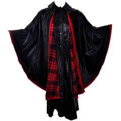 1970s YSL Coat Dress Yves Saint Laurent Waistcoat Cape W Tartan Plaid Lining